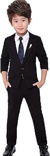Cloudkids ボーイズ フォーマル スーツ 4点セット キッズ 子供服 ジャケット ロングパンツ シャツ ネクタイ ジュニア 卒業式 入学式 結婚式 発表会 黒
