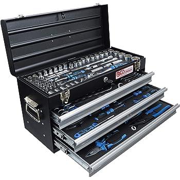 BGS 3318 | Maletín de herramientas metálico | 3 cajones | con 143 herramientas: Amazon.es: Bricolaje y herramientas