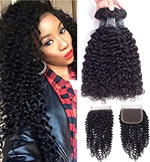 Amella Hair 8A Brazilian Kinky Curly Weave Human Hair Bundles with Closure Good Quality Brazilian curly Hair 3 Bundles with Closure 12