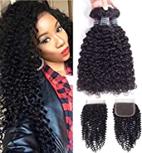 Amella Hair Brazilian Curly Human Hair Bundles with Closure Grade 8A Virgin Unprocessed Brazilian Hair Weave Bundles with Closure Free Part 16 18 20 with 16