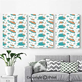Modern Gallery Wrapped Canvas Print Flounder and Trout Naive Lino Style Algae Underwater Marine Ocean Sea Pattern 3 panels Pictures on Canvas Wall Art Ready to Hang for Living Room Kitchen Home Decor
