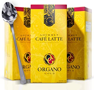 3 Box Organo Gold Cafe Latte Mushroom Coffee Bundle with Fusionfoods Stainless Stirring Spoon| Gourmet Instant Ganoderma Coffee w/Benefits of Certified Ganoderma Lucidum | 3 Box 60 Sachets (4 Items)