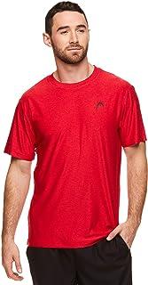 HEAD Men's Ultra Hypertek Crewneck Gym Training & Workout T-Shirt - Short Sleeve Activewear Top - Red - S
