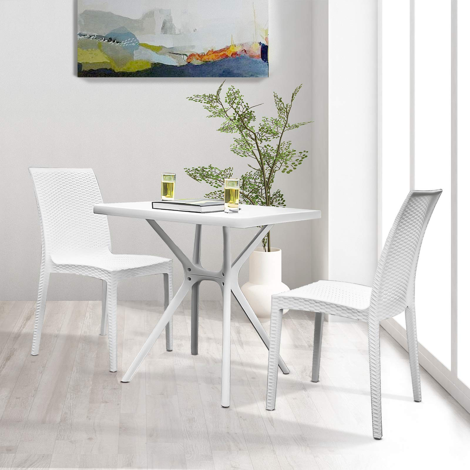 Furgle Dining Set White Kitchen Table with 10 Chairs, Mid Century Country  Wicker Rattan Style Patio Breakfast Nook Plastic Furniture Sets for Dining