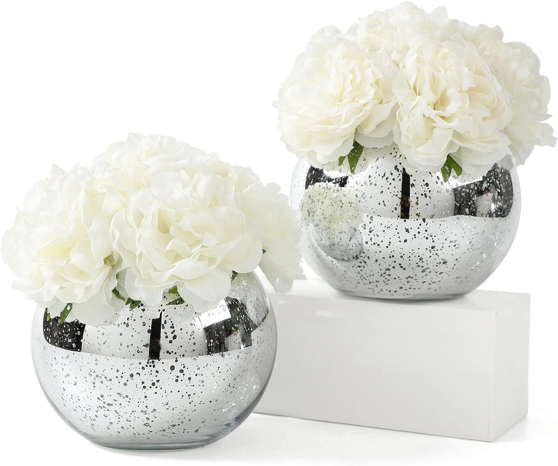 Set of 2 Assorted Faux Flower Vas Arrangement OFFicial site with Mercury Round outlet