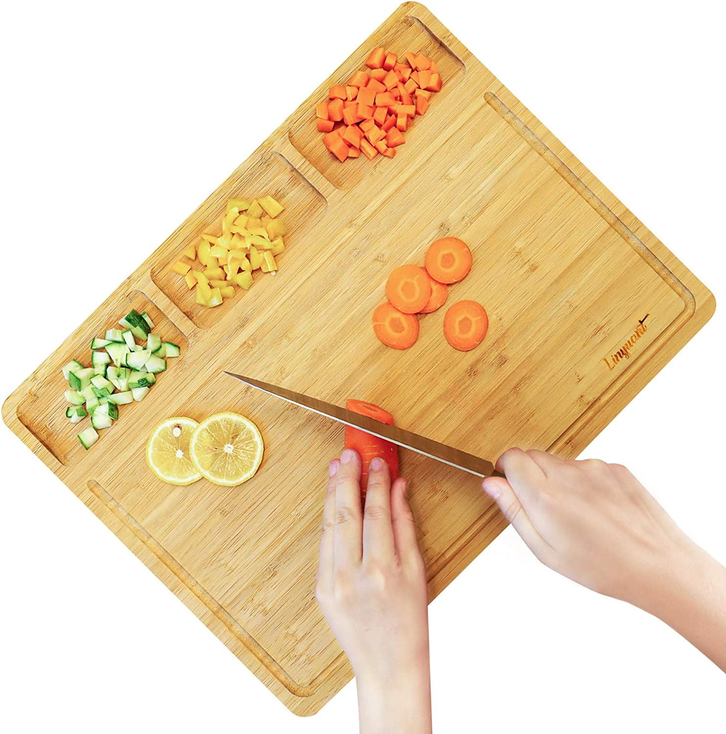 Long-awaited Linyuant Large Fresno Mall Bamboo Cutting Board with Kitchen For 3 Built-In