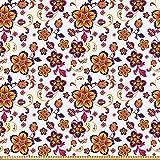 ABAKUHAUS Blumen Microfaser Stoff als Meterware, Blühendes