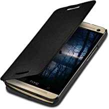 kwmobile Case Compatible with HTC One M7 - Book Style Flip Folio Slim Wallet Cover with Stand Feature - Black