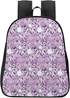 Mauve Decor Canvas Backpack,Digital Guiloche Fractal Crystal Stylized Floral Ornamental Retro Design for Playgrounds,One_Size