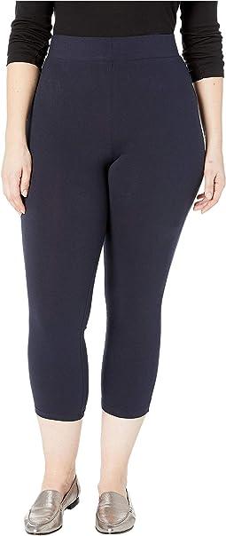 Plus Size Wide Waistband Blackout Cotton Capri Leggings