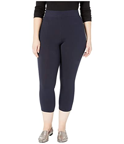 HUE Plus Size Wide Waistband Blackout Cotton Capri Leggings (Navy) Women