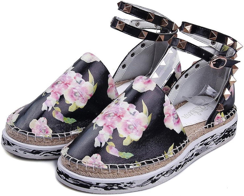 Allhqmode Woherrar Closed Round Toe Low klackar klackar klackar Cow läder Floral Sandals med Wedge  billigaste priset