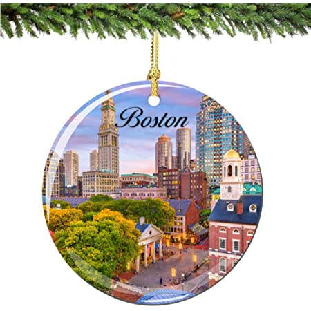 City Souvenirs Boston Christmas Ornament Porcelain 2 75 Double Sided Christmas Ornaments Home Kitchen