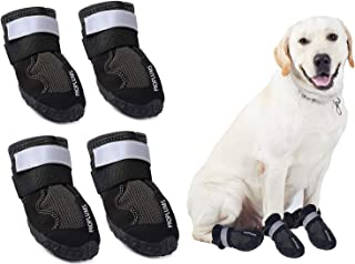 PROPLUMS Waterproof Dog Boots, Dog Hiking Shoes Protect The Paws from Injury, Suit for Labrador Husky and Other Medium Large Dogs, Grid Anti-Skid Design 4 pcs