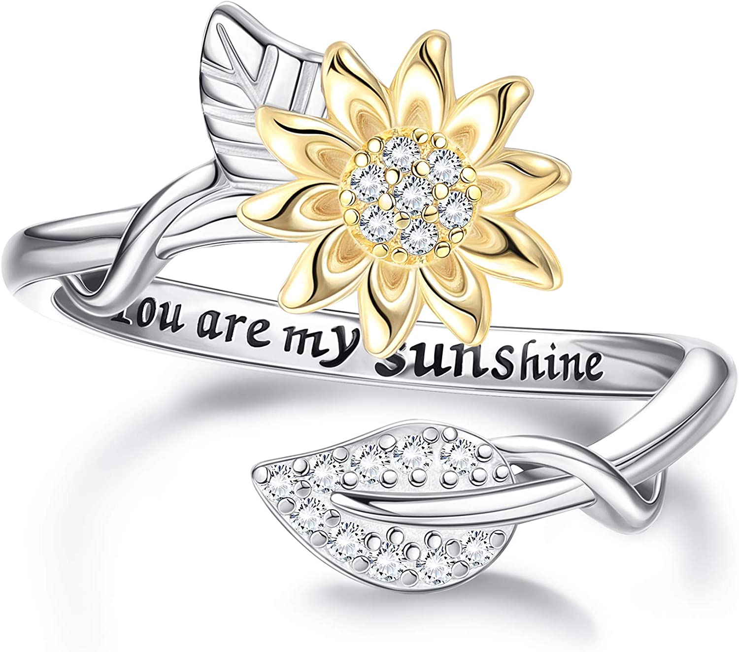 Milacolato You are My Sunshine Ring Sterling Sil Ranking TOP6 18K Gold Plated Long-awaited