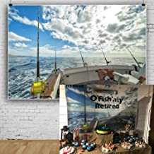 AOFOTO 5x3ft Sea Landscape Backdrop Fishing Boat Fishing Poles Blue Sky White Cloud Photography Background Anglers Vacation Video Displays TV Film Production Studio Prop Video Drape