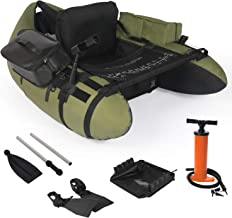 YILI Inflatable Fishing Float Tube, Floation Pontoon Boat Set with Oar, Inflate Seat & backrest,Step in Fins, Rod Holder a...
