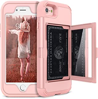 iPhone 7/8 Wallet Case - WeLoveCase Defender Wallet Design with Hidden Back Mirror and Card Holder Heavy Duty Protection Shockproof 3 in 1 All-Round Armor Protective Case for iPhone 7 8 - Rose Gold