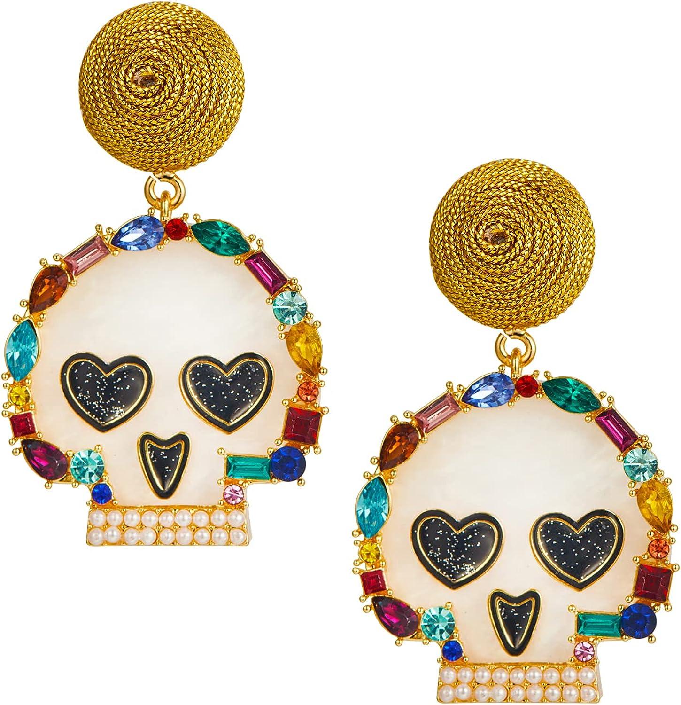 Halloween Earrings For Women Skull Pumpkin Spider Witch Earrings Handmade Alloy Halloween Theme Cute Drop Dangle Earrings Halloween Stud Earrings Party Dress Up Jewelry