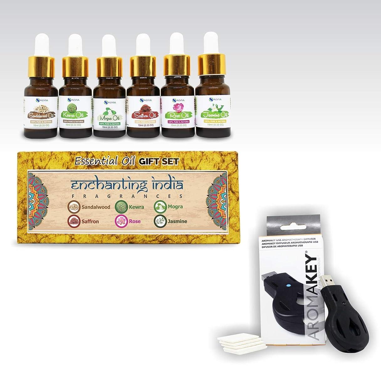極貧拘束する調整するAromatherapy Essential Oils - Enchanting India (Pack of 6) 100% Pure & Natural Plus Aromakey USB Personal Diffuser, Humidifier, Air Freshener For Office, Car, etc