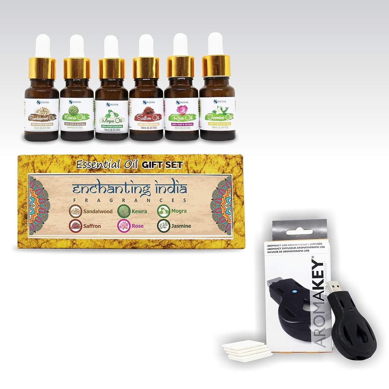 おびえたトランザクション愛情Aromatherapy Essential Oils - Enchanting India (Pack of 6) 100% Pure & Natural Plus Aromakey USB Personal Diffuser, Humidifier, Air Freshener For Office, Car, etc