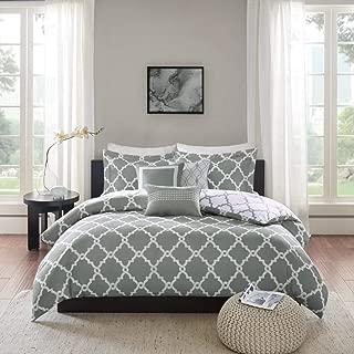 6 Piece Silver Grey White Trellis Full Queen Duvet Cover Set, Zinc Grey Adult Bedding Master Bedroom Stylish Geometric Ikat Lattice Pattern Quatrefoil Shape Elegant Traditional, Polyester