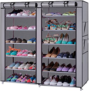 Mytunes 6 Tier Shoe Rack Organizer for 36 Pair Shoes, Shoe Tower Storage Shelf Holder with Non-Woven Fabric Cover (Grey)