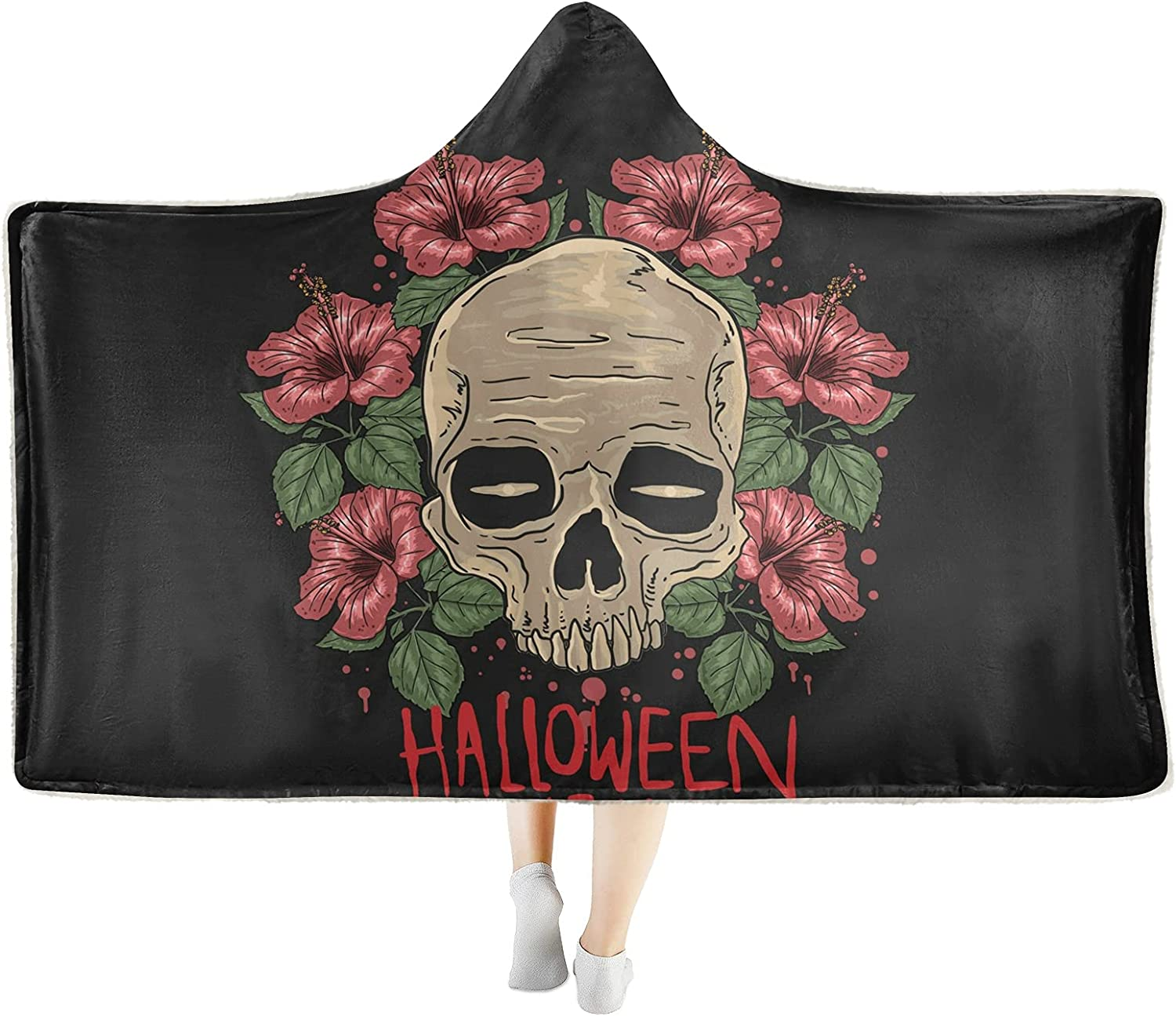 Halloween Skull Party Ranking TOP7 Wearable Hooded Very popular Blanket Soft Bl Throw Cozy