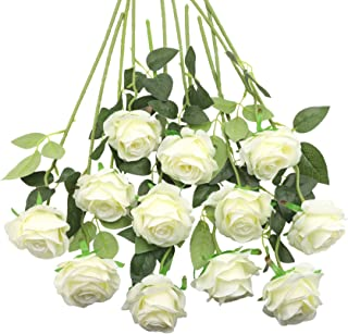 Decpro 12Pcs Artificial Roses, 19.7'' Single Long Stem Silk Blossom Fake Flower for Bridal Wedding Bouquets, Home Party Of...