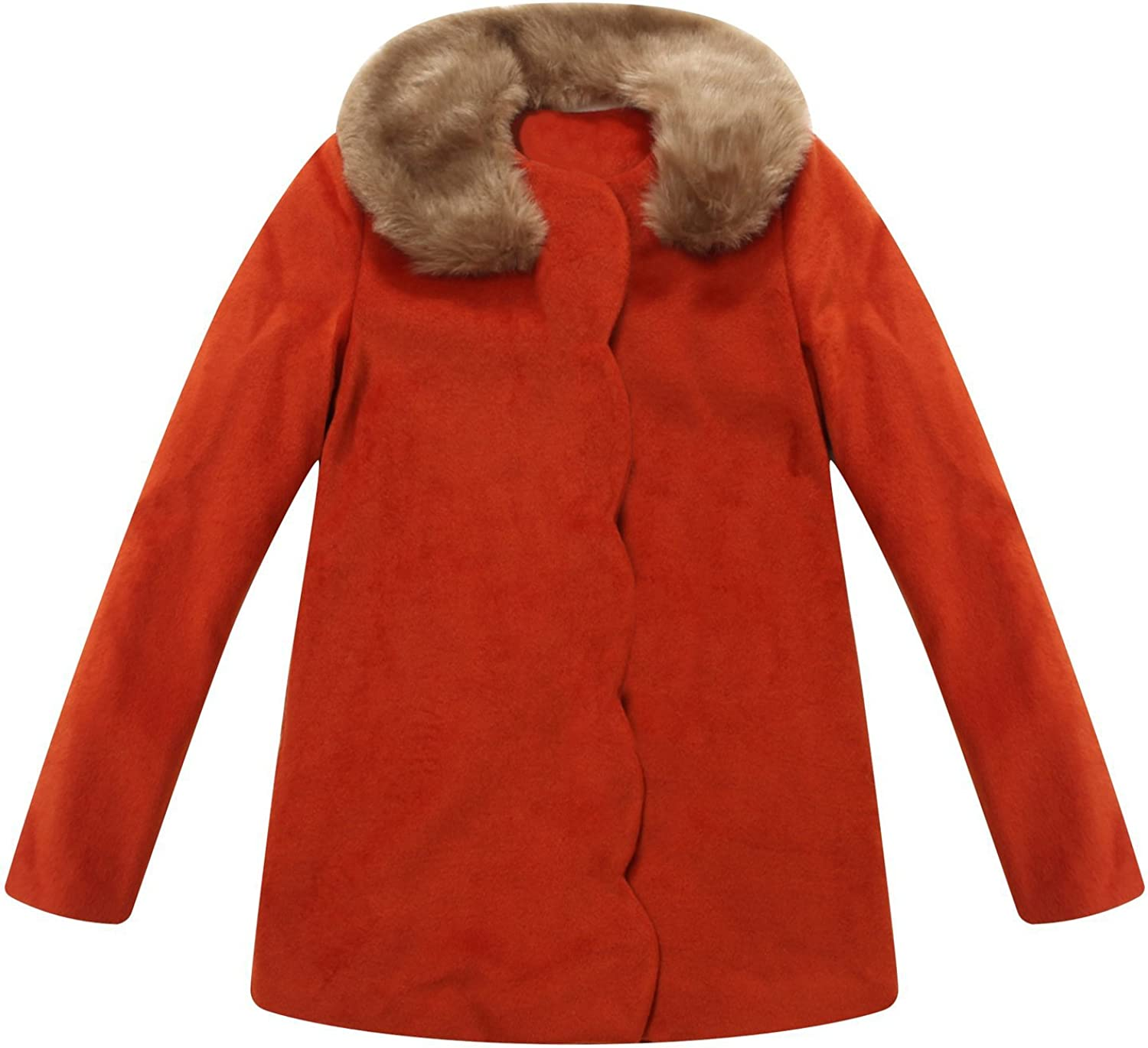 Richie House Little Girls' Overcoatoat with Fur Collar with Bow Rh1194