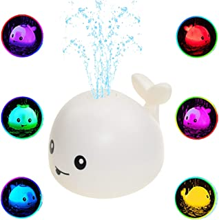 TUWUNA Baby Bath Toys, Whale Spray Water Toy with LED Light Fountain Toy Automatic Induction Sprinkler Bath Toy Bathtub To...