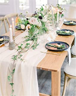 SoarDream Ivory Table Runners 15 Pieces Wedding Table Runner Decorations 27 x120 Inch Chiffon Table Runner Romantic for Wedding Table Bridal Shower Reception Decor