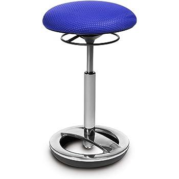 Topstar Sitness High Bob, ergonomische Stehhilfe, Arbeitshocker, Fitnesshocker, Standfußring Alu poliert, Sitzhöhe 49 70cm, Stoffbezug, blau