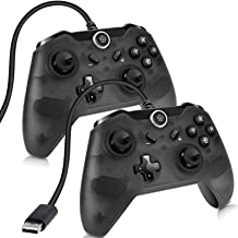 Sunjoyco USB Wired Controller for Nintendo Switch, Pro Controller Remote Gaming Gamepad Joypad Compatible with Nintendo Switch & PC (Windows XP/7/8/10) with 7.2FT Cable - Black (2-Pack)