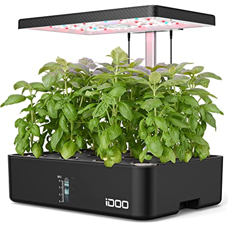 iDOO Hydroponics Growing System, 12Pods Indoor Herb Garden with Grow Light, Germination Kit with Air System, Automatic Timer, Height Adjustable