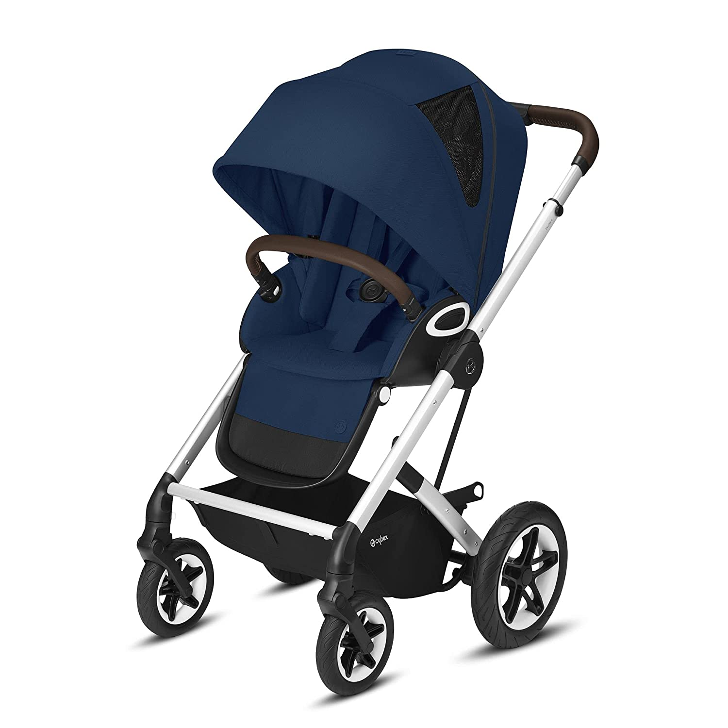 Cybex Talos S Lux Stroller, AllTerrain Wheels, FrontFacing or ParentFacing Seat Positions, OneHand Fold, Multiposition Recline, Navy Blue