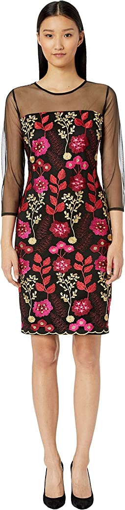 Embroidered Sheath Dress w/ Illusion Sleeves