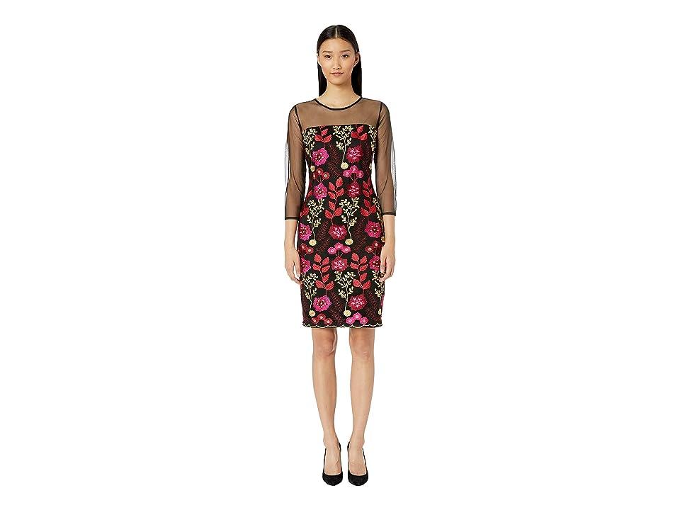 ALEXIA ADMOR Embroidered Sheath Dress w/ Illusion Sleeves (Black) Women