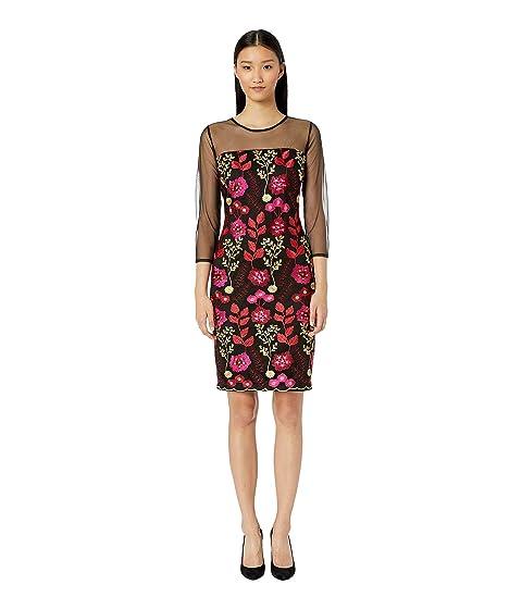 ALEXIA ADMOR Embroidered Sheath Dress W/ Illusion Sleeves, Black