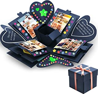 Tatuo Creative Gift Box Memory DIY Scrapbook Photo Album for Christmas Birthday Anniversary Valentine Day Wedding (Navy Blue)