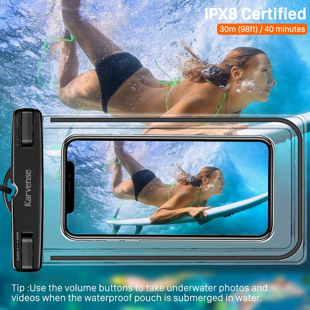 Waterproof Phone Case, Karvense Universal Luminous Waterproof Phone Bag/Pouch, Waterproof Cell Phone Holder, Dry Bags, for iPhone, Samsung Galaxy, LG, Moto, Pixel, Xiaomi, Phones up to 6.9''– 4 Pack