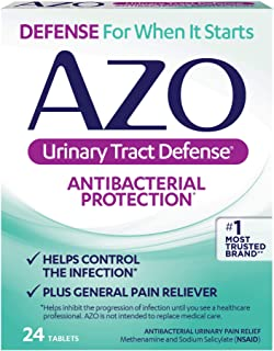 AZO Urinary Tract Defense Antibacterial Protection | Helps Control a UTI Until You Can See a Doctor | #1 Most Trusted Urinary Health Brand | 24 Tablets
