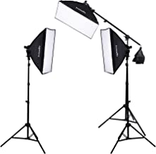Interfit F5 3-Head Continuous Fluorescent 5600K Daylight Lighting Kit: (3) 5-Lamp Heads, (15) 32W Lamps, (3) Softboxes, (2) 7.5' Air-Cushioned Lightstands, (1) 10' Light Stand w/ (1) Boom Arm