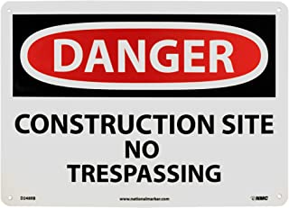 NMC D248RB DANGER - CONSTRUCTION SITE NO TRESPASSING Sign - 14 in. x 10 in. Rigid Plastic Danger Signage, Black/White Text on White/Red Base