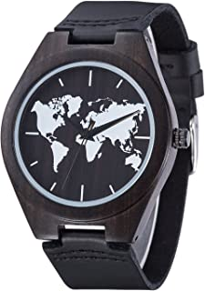 Sentai Men's Wooden Watch, Genuine Cowhide Leather Strap, Handmade Lightweight Natural Wood Wrist Watches with Gift Box