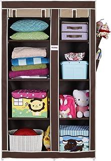 FOLDDON Foldable Wardrobe with 8 Racks, Standard Size (Beige and Brown)