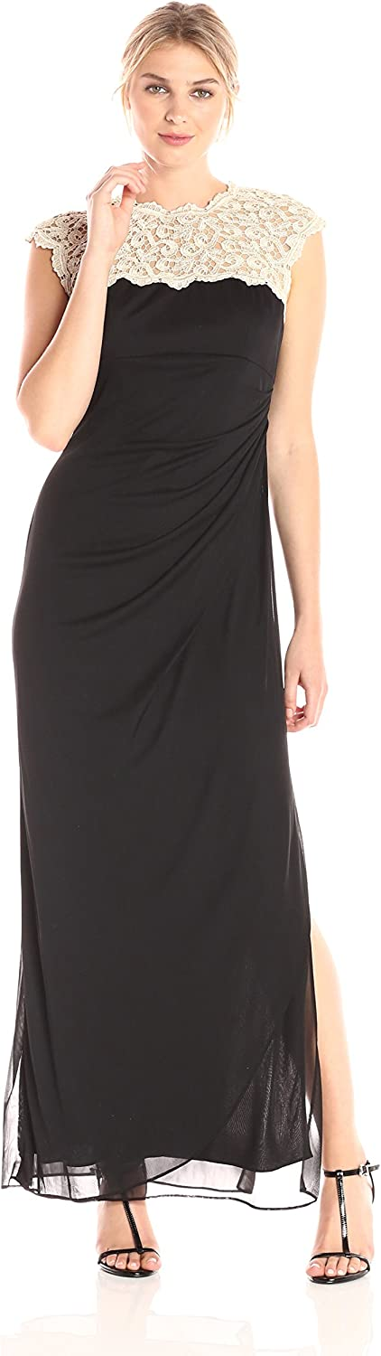 Alex Evenings Women's Long Cap Sleeve Side Ruched Gown