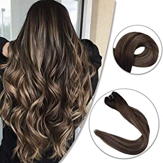 Fshine 14 inch Balayage Ombre Human Hair Weft Extensions Soft Hair Color #2 Darkest Brown Fading to #3 Darker Brown And #27 Honey Blonde Hair Weft Remy Human Hair 100g Per Package