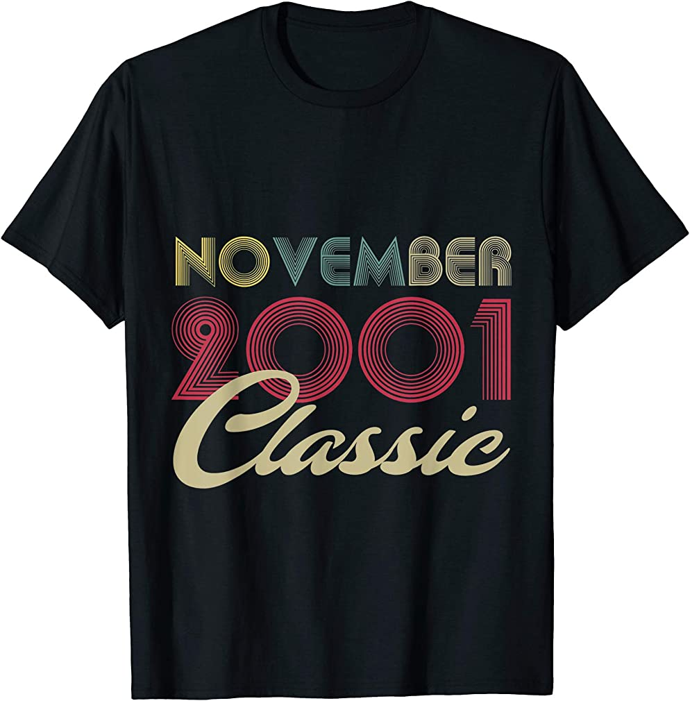 Classic November 2001 Bday Men Women Gifts 19th Birthday T-shirt