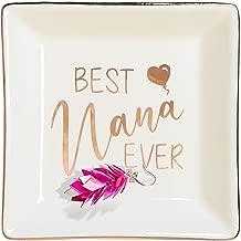ZeenArt Nana Gifts Ceramic Ring Dish Jewelry Tray Decorative Trinket Plate, Grandma Gift - Best Nana Ever